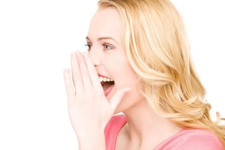 bright picture of young woman whispering gossip Stock Photo - 6806074