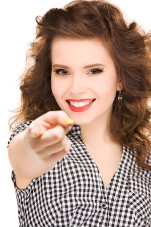 picture of attractive woman pointing her finger photo