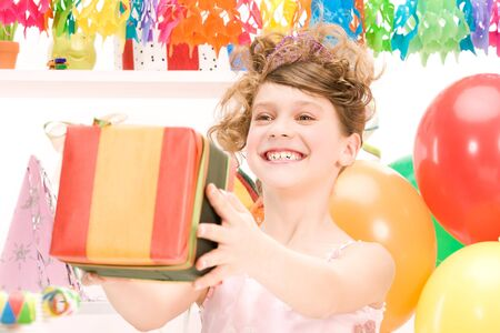 happy party girl with balloons and gift box Stock Photo - 6806326
