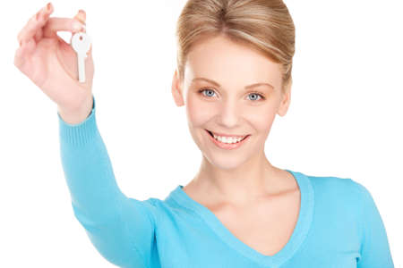 picture of happy woman with keys over white photo