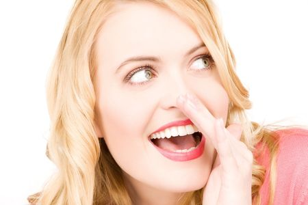 bright picture of young woman whispering gossip Stock Photo - 6806219