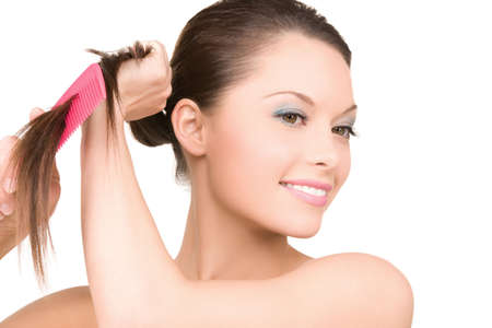 bright picture of beautiful woman with comb Stock Photo - 6806385