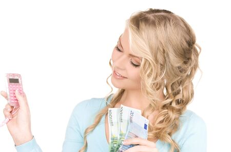 happy woman with calculator and money over white Stock Photo - 6858172