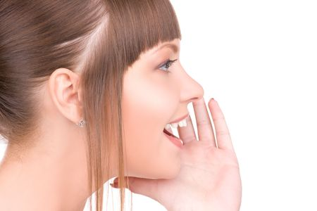 bruit: bright picture of young woman whispering gossip Stock Photo
