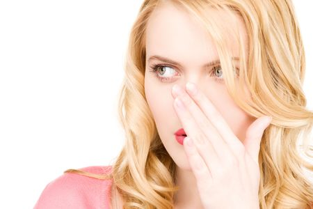 bright picture of young woman whispering gossip Stock Photo - 6850305