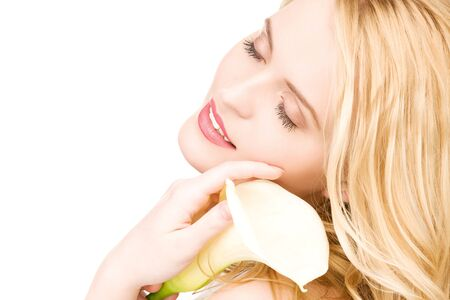 picture of beautiful woman with white flower Stock Photo - 6858143