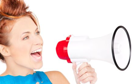 picture of redhead woman with megaphone over white Stock Photo - 6858106