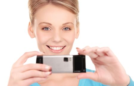 picture of happy woman using phone camera Stock Photo - 6850286