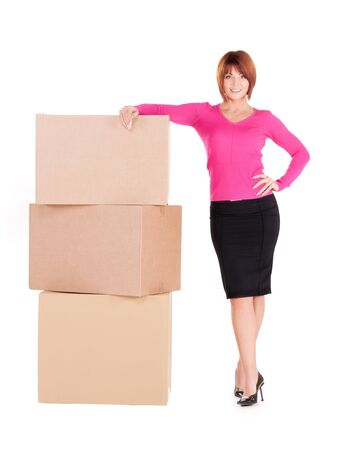 storage box: picture of businesswoman with boxes over white Stock Photo