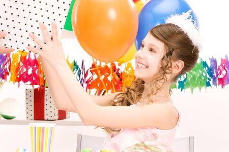 happy party girl with balloons and gift box Stock Photo - 6861568