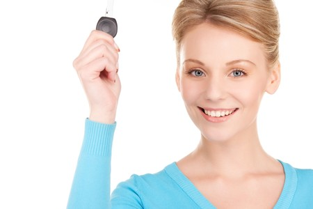 picture of happy woman with car key over white photo