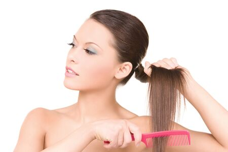 bright picture of beautiful woman with comb Stock Photo - 6941790