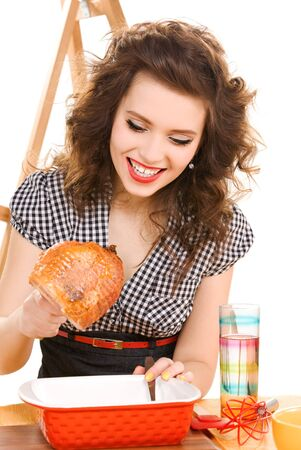 picture of young attractive woman in the kitchen Stock Photo - 6941613