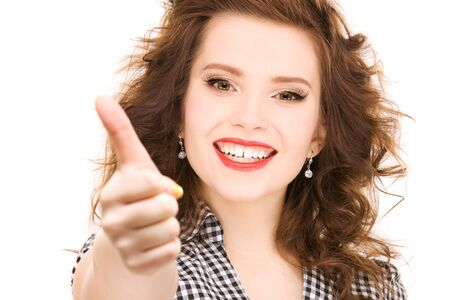 bright picture of lovely woman with thumbs up Stock Photo - 6941879