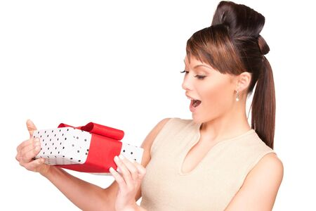 happy woman with gift box over white Stock Photo - 6941785