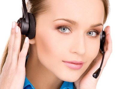 bright picture of friendly female helpline operator Stock Photo - 6941789