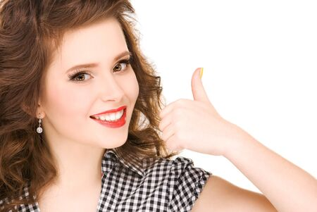 bright picture of lovely woman with thumbs up Stock Photo - 6937085