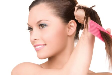 bright picture of beautiful woman with comb Stock Photo - 6941739