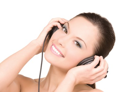 picture of happy woman in headphones over white Stock Photo - 6941746