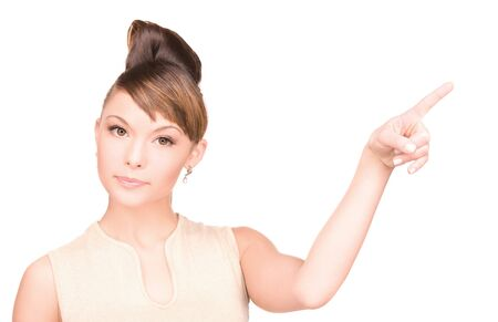 picture of attractive young woman pointing her finger Stock Photo - 6941633