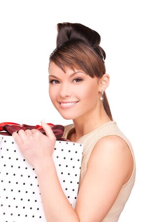 happy woman with gift box over white Stock Photo - 6941679
