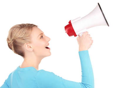 picture of woman with megaphone over white Stock Photo - 6941705
