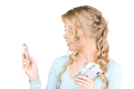 happy woman with calculator and money over white Stock Photo - 6941608