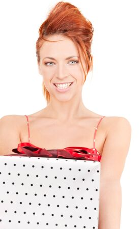 happy girl with gift box over white photo