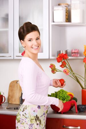 picture of beautiful woman in the kitchen Stock Photo - 16619185