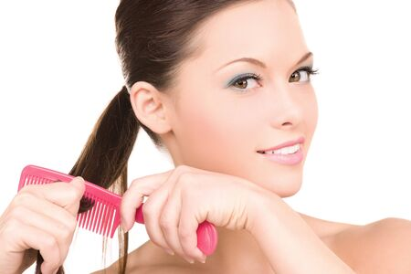 bright picture of beautiful woman with comb Stock Photo - 6942527