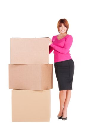 picture of businesswoman with boxes over white Stock Photo - 6942734