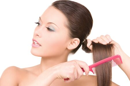 bright picture of beautiful woman with comb Stock Photo - 6943067