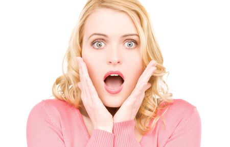 speechless: bright picture of surprised woman face over white