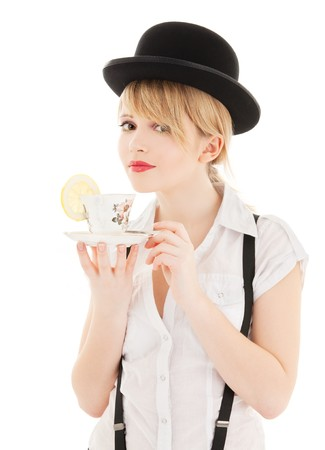 bowler: bright picture of lovely girl with cup of tea