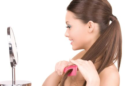 bright picture of beautiful woman with comb Stock Photo - 6945543