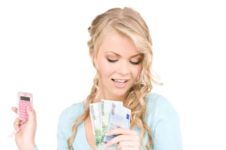 happy woman with calculator and money over white Stock Photo - 6943358