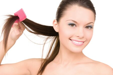 bright picture of beautiful woman with comb Stock Photo - 7010155