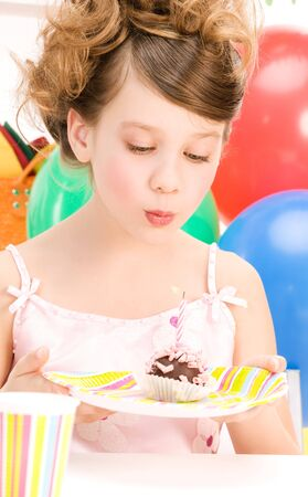 picture of happy party girl with cake photo