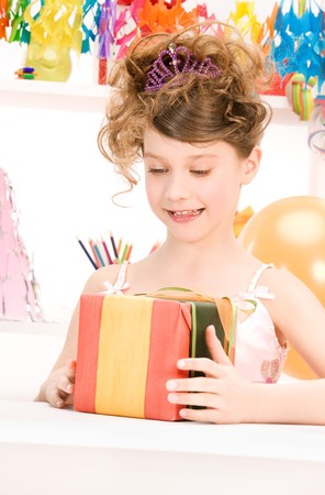 happy party girl with balloons and gift box Stock Photo - 7010178
