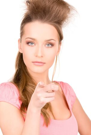 picture of attractive young woman pointing her finger Stock Photo - 7010348