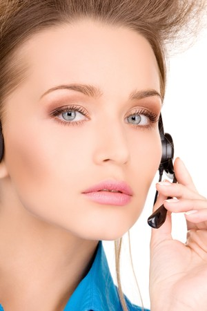 bright picture of friendly female helpline operator Stock Photo - 7010365
