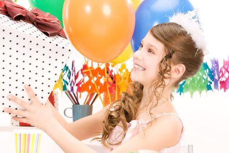 happy party girl with balloons and gift box Stock Photo - 7010285