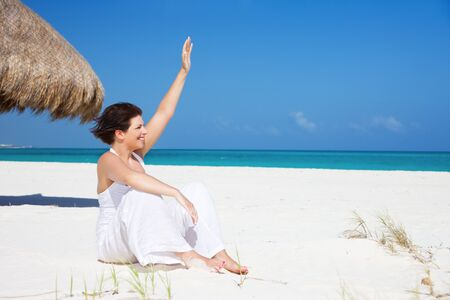 picture of happy woman on the beach Stock Photo - 7010340