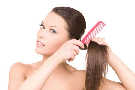 hairbrush: bright picture of beautiful woman with comb