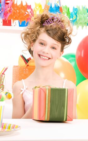 happy party girl with balloons and gift box Stock Photo - 7010395