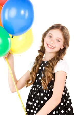 happy girl with colorful balloons over white Stock Photo - 7010446