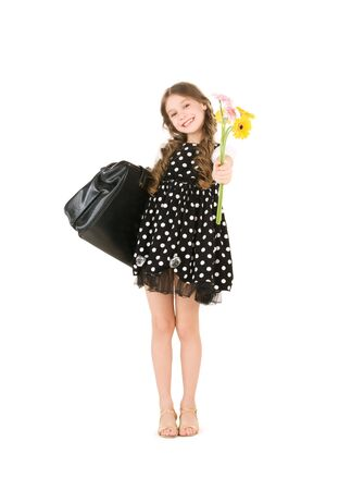 bright picture of elementary school student girl  photo