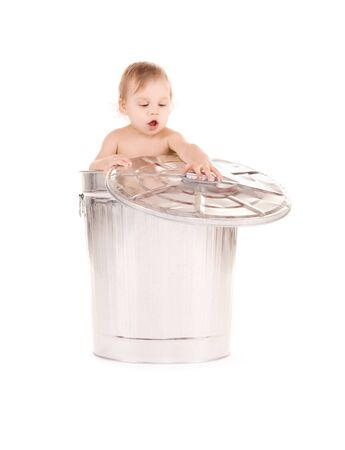 picture of adorable baby in trash can photo