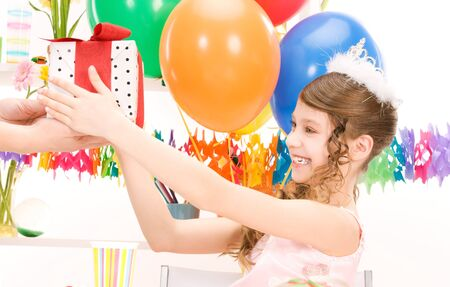 happy party girl with balloons and gift box Stock Photo - 7010521