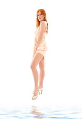 picture of tall redhead woman over white photo